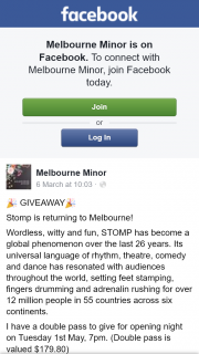 Melbourne Minor – Win Double Pass to Opening Night of Stomp
