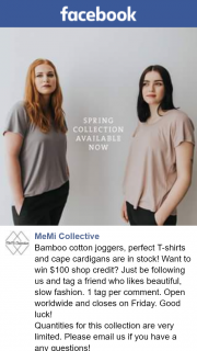 MeMi Collective – Win $100 Shop Credit (prize valued at $100)