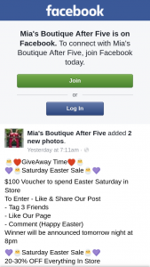 Mia's Boutique After Five – Win a $100 Voucher to Spend Easter Saturday In Store(drawn 7.55pm)(like/share/tag 3 Friends (prize valued at $100)