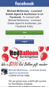 Michael McKenney – Win $200 Red Balloon Voucher Ends 3pm (prize valued at $200)
