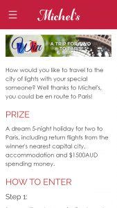 Michels Patisserie – Win a Trip to Paris (prize valued at $5,000)