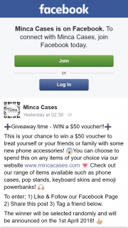 Minca Cases – Win a $50 Voucher (prize valued at $50)