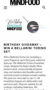 MindFood – Win a Ballerini Torino Set (prize valued at $369.9)