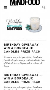 MindFood – Win a Bordeaux Candles Prize Pack (prize valued at $299)