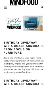 MindFood – Win a Coast Armchair From Focus on Furniture (prize valued at $699)