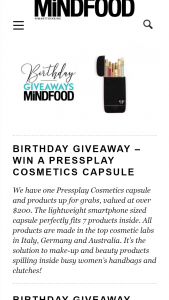 MindFood – Win a Pressplay Cosmetics Capsule (prize valued at $200)