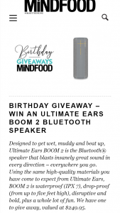 MindFood – Win an Ultimate Ears Boom 2 Bluetooth Speaker (prize valued at $249.95)