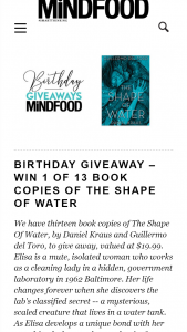 MindFood – Win 1 of 13 Book Copies of The Shape of Water (prize valued at $19.99)