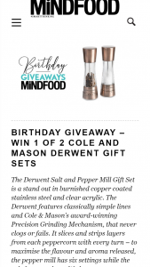 MindFood – Win 1 of 2 Cole and Mason Derwent Gift Sets (prize valued at $179.95)