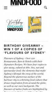 MindFood – Win 1 of 4 Copies of Flavours of Sydney (prize valued at $80)