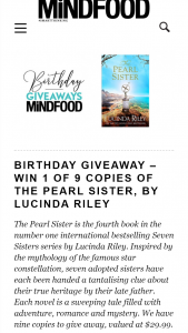 MindFood – Win 1 of 9 Copies of The Pearl Sister By Lucinda Riley (prize valued at $29.99)