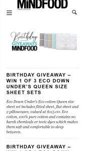 MindFood – Win 1 of 3 Eco Down Under's Queen Size Sheet Sets (prize valued at $115)