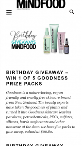 MindFood – Win 1 of 5 Goodness Prize Packs (prize valued at $66.8)