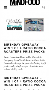 MindFood – Win 1 of 4 Ratio Cocoa Roasters Prize Packs (prize valued at $83)
