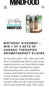 MindFood – Win 1 of 5 Sets of Hanako Therapies Aromatherapy Elixirs (prize valued at $52.85)