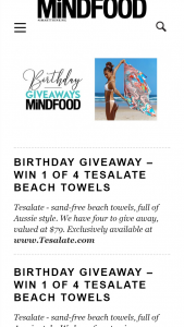 MindFood – Win 1 of 4 Tesalate Beach Towels (prize valued at $79)