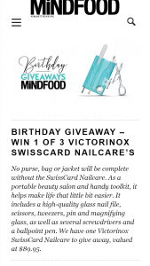 MindFood – Win 1 of 3 Victorinox Swisscard Nailcare's (prize valued at $89.95)