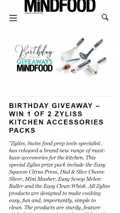 MindFood – Win 1 of 2 Zyliss Kitchen Accessories Packs (prize valued at $130.75)