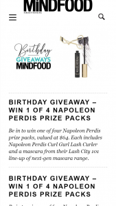 MindFood – Win One of Four Napoleon Perdis Prize Packs (prize valued at $64)