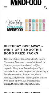 MindFood – Win One of Three Smoothie Bombs Packs (prize valued at $80)