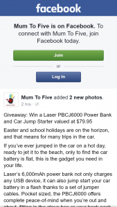 Mum to Five – Win a Laser Pbcj6000 Power Bank and Car Jump Starter Valued at $79.95 (prize valued at $79.95)