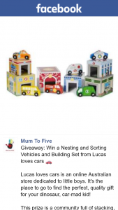Mum to Five – Win a Nesting and Sorting Vehicles and Building Set From Lucas Loves Cars