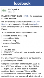 MyOrganics – Win The Ingredients to Make this Cake