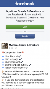 Mystique Scents & Creations – Win $150 Gift Voucher (prize valued at $150)
