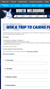 North Melbourne FooTBall Club – Win 1 X Trip to Cairns Prize Pool (prize valued at $1,432)