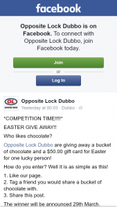 Opposite Lock Dubbo – Win a Bucket of Chocolate and $50 Gift Card (prize valued at $50)