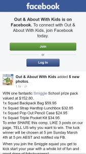 Out & About With Kids – Win One Fantastic Smiggle School Prize Pack Valued at $152.80. (prize valued at $152.8)