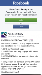 Pam Court Realty – Win $100 Gift Card of Your Choice (prize valued at $100)