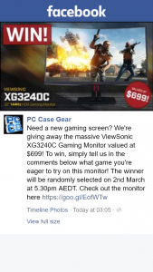 PC Case Gear – Win a Viewsonic Xg3240c Gaming Monitor (prize valued at $699)