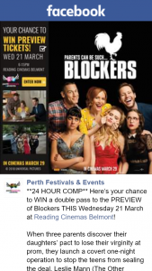 Perth Festivals & Events – Win a Double Pass to The Preview of Blockers this Wednesday 21 March at Reading Cinemas Belmont