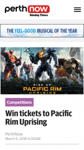 Perth Now – Win Tickets to Pacific Rim Uprising