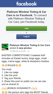 Platinum Window Tinting & Car Care – Win Easter Hampers and $50 Voucher