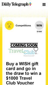 Plus Rewards – Win a $1000 Travel Voucher With Travel Club (prize valued at $1,000)