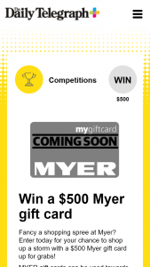 Plusrewards – Win a $500 Myer Gift Card (prize valued at $500)