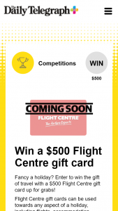 Plusrewards – Win The Gift of Travel With a $500 Flight Centre Gift Card Up for Grabs (prize valued at $500)