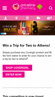 Priceline Purchase Covergirl  Witness the VIP Party Experience with KATY PERRY for you and 3 friends – Win a Trip for Two to Athens