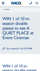 RACQ – Win 1 of 10 In Season Double Passes to See a Quiet Place at Event Cinemas