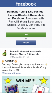 Ranbuild Young & surrounds Shacks – Win Easter Eggs and Kids Swing