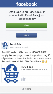 Retail Sale – Win The Cash on April 1st 2018. (prize valued at $250)