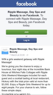 Ripple Massage – Win a Girls Weekend Getaway With Ripple Massage (prize valued at $3,000)