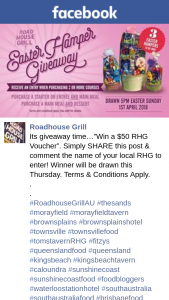 "Roadhouse Grill – Time…""win a $50 Rhg Voucher""."