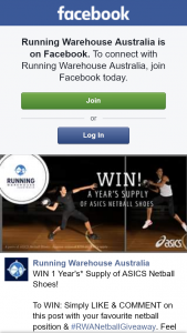 Running Warehouse – Win 1 Year's Supply of Asics NeTBall Shoes