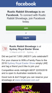 Rustic Rabbit Showbags – Win a Family Pass to The 2018 Sydney Royal Easter Show Simply Like and Tag a Friend You'd Like to Join You