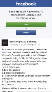 Sack Me FB – Win a Set of Single Unicorn Bedding /or Dunkin' Dragon Bedding Each and Re-Style Your Kids' Space With Your Gorgeous and Super Comfy Designs