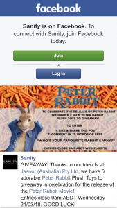 Sanity – Win One of Six Peter Rabbit Plush Toys