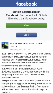Scholz Electrical – Win an Easter Hamper Must Collect Sumner Park